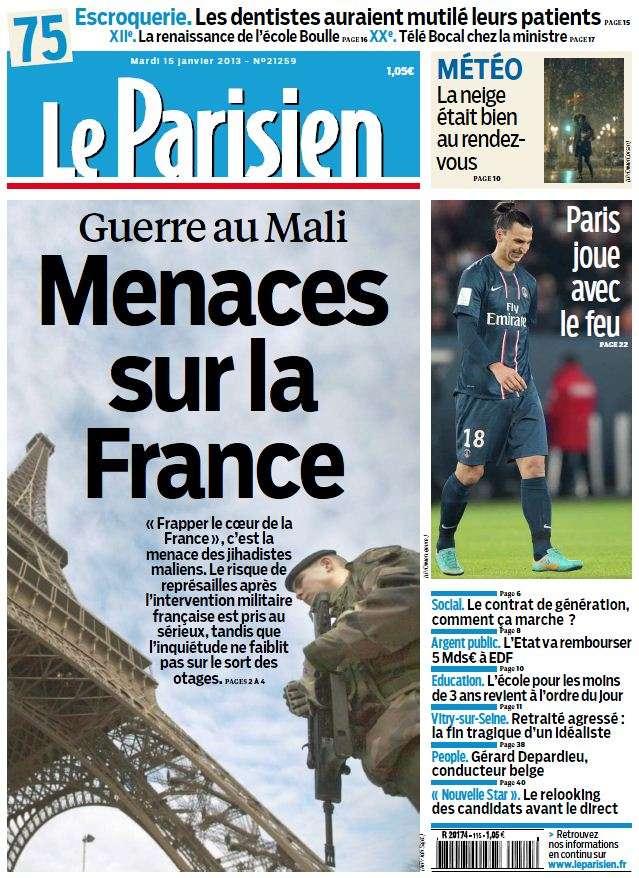 Le Parisien + Cahier Paris Mardi 15 Janvier 2013