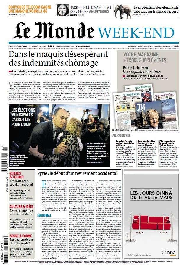 Le Monde et Suppléments du Samedi 16 Mars 2013