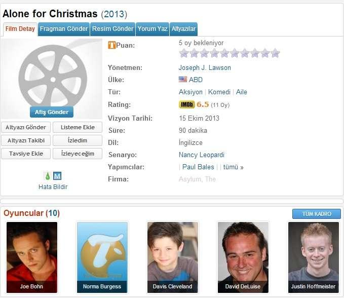 Alone For Christmas - 2013 DVDRip XviD - Türkçe Altyazılı Tek Link indir